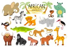 Colección africana de los animales aislada en el fondo blanco Vector stock de ilustración