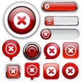 Colección alto-detallada cruzada del botón del Web. stock de ilustración