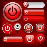 Colección alto-detallada del botón del Web de la potencia. Imagen de archivo