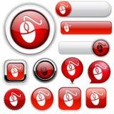 Colección alto-detallada del botón del Web del ratón. Fotografía de archivo