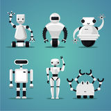 Colección amistosa de los robots Diseño futurista Juguetes electrónicos fijados Fotografía de archivo