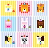 Colección animal de la tarjeta del bebé Fotos de archivo libres de regalías