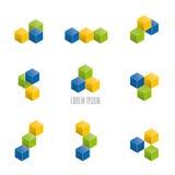 Colección apilada de los elementos del diseño del vector de los cubos Imagen de archivo libre de regalías