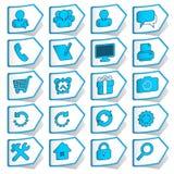 Colección azul de etiquetas engomadas Imágenes de archivo libres de regalías