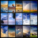 Colección azul de la puesta del sol Imágenes de archivo libres de regalías
