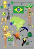 Colección brasileña de los elementos stock de ilustración
