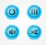 Colección brillante de los botones del reproductor multimedia Fotografía de archivo