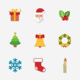 Colección brillante de los iconos de la Navidad - ejemplo del vector Fotos de archivo