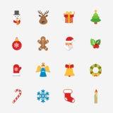 Colección brillante de los iconos de la Navidad - ejemplo del vector ilustración del vector