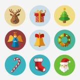 Colección brillante de los iconos de la Navidad - ejemplo del vector stock de ilustración