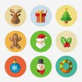 Colección brillante de los iconos de la Navidad - vector Imagenes de archivo