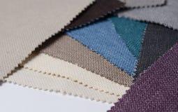 Colección brillante de muestras de la materia textil del yute Fondo de la textura de la tela Fotografía de archivo libre de regalías