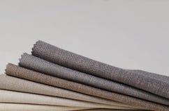 Colección brillante de muestras de la materia textil del yute Fondo de la textura de la tela Imagen de archivo libre de regalías