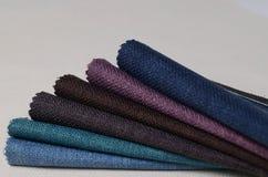 Colección brillante de muestras de la materia textil del yute Fondo de la textura de la tela Fotografía de archivo