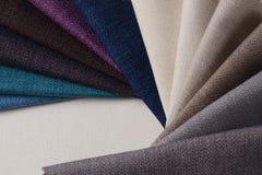 Colección brillante de muestras de la materia textil del yute Fondo de la textura de la tela Foto de archivo
