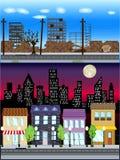 Colección céntrica del ejemplo del vector de la escena de los edificios del anuncio publicitario stock de ilustración