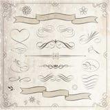Colección caligráfica y decorativa de los elementos ilustración del vector