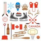 Colección canadiense de iconos del vector Imágenes de archivo libres de regalías