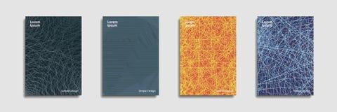 Colección científica del vector del diseño del informe anual Las rayas de semitono texturizan el sistema de las plantillas del di stock de ilustración