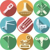 Colección coloreada de los iconos para la obstetricia Fotos de archivo