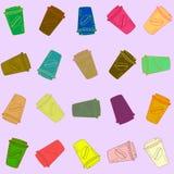 Colección colorida de la taza de café del vector Fotografía de archivo libre de regalías