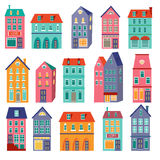 Colección colorida de las casas Sistema dulce casero del hogar Foto de archivo libre de regalías