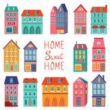 Colección colorida de las casas Sistema dulce casero del hogar Imagen de archivo