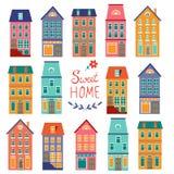 Colección colorida de las casas Sistema dulce casero del hogar Fotografía de archivo libre de regalías