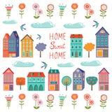 Colección colorida de las casas Sistema dulce casero del hogar Foto de archivo