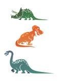 Colección colorida de los dinosaurios de la historieta imagen de archivo