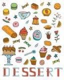 Colección colorida de postres dulces Imagen de archivo libre de regalías