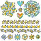Colección colorida del ornamento y del ajuste stock de ilustración