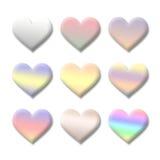 Colección colorida del símbolo del corazón del amor de la tarjeta del día de San Valentín Fotos de archivo