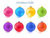 Colección colorida del vector del Año Nuevo de las bolas de la Navidad libre illustration