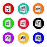 Colección colorida promocional de las etiquetas engomadas de la venta Fotos de archivo