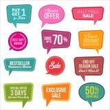 Colección colorida promocional de las etiquetas engomadas de la venta del web Fotografía de archivo