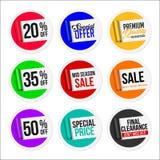 Colección colorida promocional de las etiquetas engomadas de la venta Papel rasgado Fotos de archivo libres de regalías