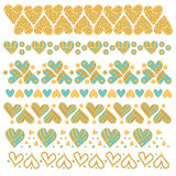 Colección colorida, romántica del ajuste con los corazones libre illustration