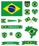 Colección completa de la bandera del Brasil Fotos de archivo