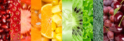 Colección con diversas frutas y verduras imágenes de archivo libres de regalías