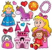 Colección con el tema 1 de los juguetes stock de ilustración
