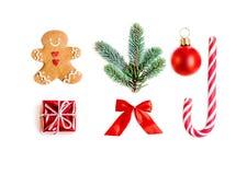 Colección con los regalos, árbol de abeto, cooki de la Navidad del hombre de pan de jengibre imágenes de archivo libres de regalías