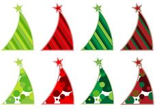 Colección contemporánea del árbol de navidad Imagen de archivo