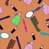Colección cosmética de los doodles de los productos Foto de archivo