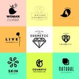 Colección cosmética plana simple de la plantilla del logotipo del vector