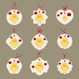 Colección creativa china de las etiquetas del Año Nuevo 2019 Nuevo 2019 años con los cerdos lindos Símbolo del año en el calendar stock de ilustración