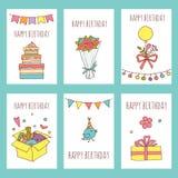 Colección creativa de las tarjetas del feliz cumpleaños Invitación dibujada mano del partido stock de ilustración