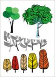 Colección creativa de los árboles Imagenes de archivo