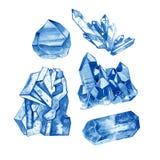 Colección cristalina azul de las gemas de la acuarela Ejemplo pintado a mano con los minerales aislados en el fondo blanco Imagen de archivo