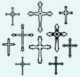 Colección cruzada religiosa del diseño Fotos de archivo